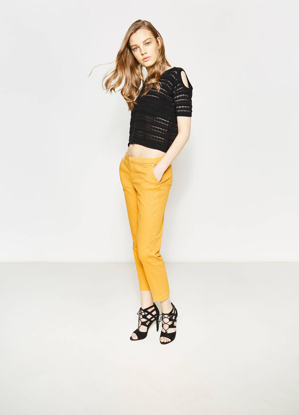 Crop trousers with folded waist | OVS
