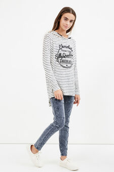 Teen stretch viscose striped sweatshirt, White/Black, hi-res