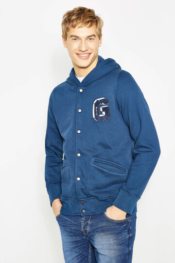 G&H cotton blend hoodie with patch, Dark Blue, hi-res