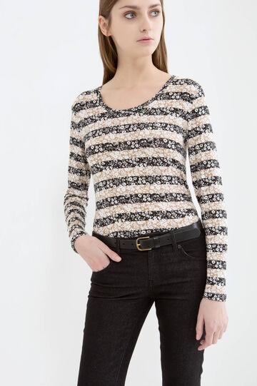 Stretch striped viscose T-shirt, Black/Beige, hi-res