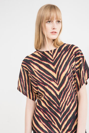 Animal print pleated T-shirt, Multicolour, hi-res