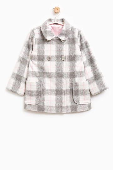 Double-breasted tartan coat, White/Pink, hi-res