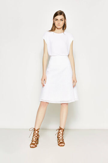 High-waisted skirt with openwork