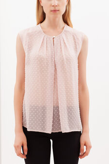 Sleeveless blouse in crepe and plumetis, Baby Pink, hi-res
