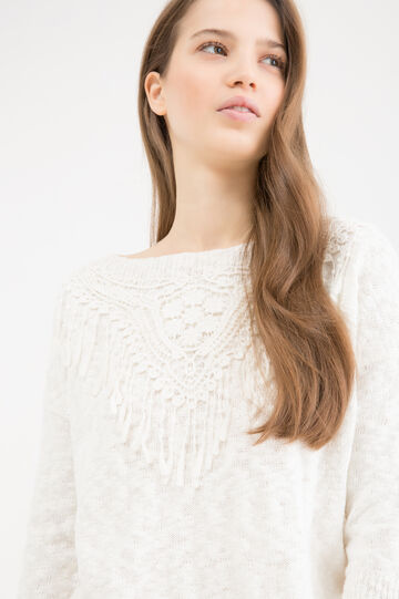 100% cotton pullover with insert, White, hi-res