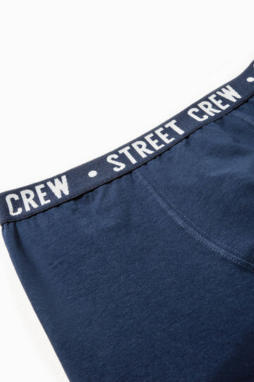 Boxer shorts in stretch cotton with printed lettering, Navy Blue, hi-res