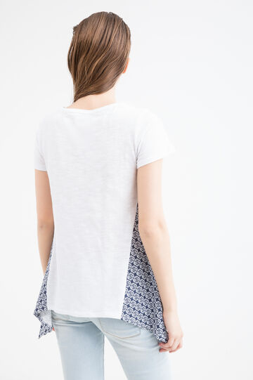 Cotton patterned T-shirt, White/Blue, hi-res