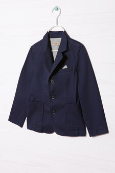 100% cotton jacket with buttons, Navy Blue, hi-res