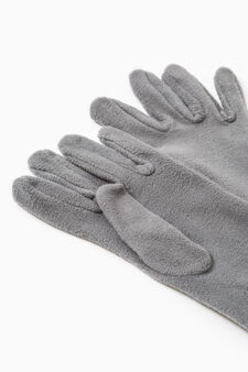 Long solid colour fleece gloves, Grey, hi-res