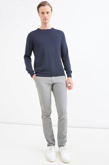 Slim-fit chino trousers in stretch twill, Grey, hi-res