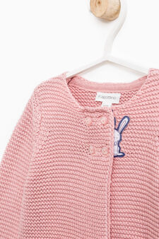 Knit cardigan with rabbit patch, Dark Pink, hi-res