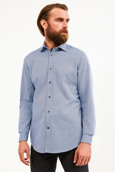 Formal shirt with hounds' tooth pattern, Soft Blue, hi-res