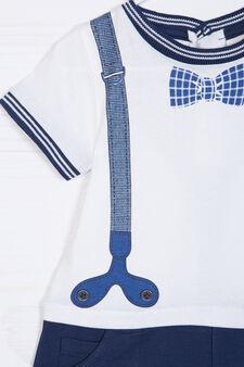 Pagliaccetto in cotone con stampa, Bianco/Blu, hi-res