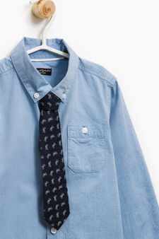 Shirt with patterned removable tie, Light Blue, hi-res