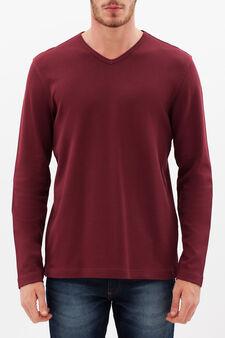 V-neck T-shirt, Claret Red, hi-res