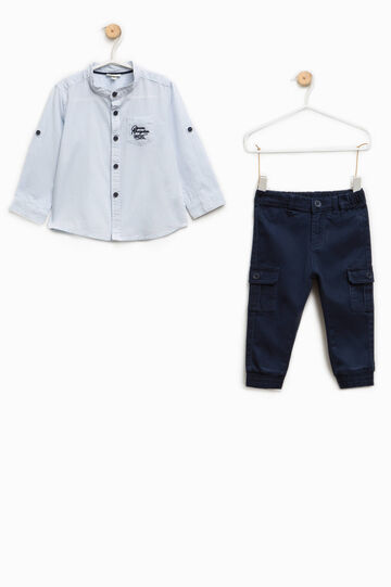Cotton shirt and trousers set, Blue/Light Blue, hi-res