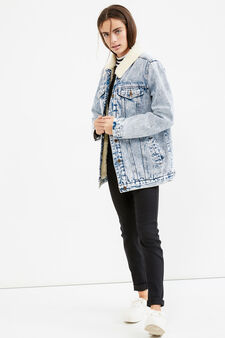 Teen denim jacket with fur, Denim, hi-res