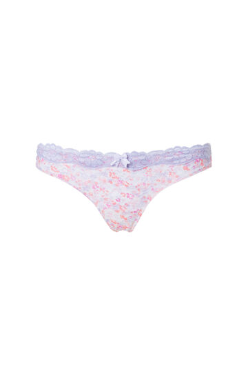 Microfibre thong with lace, White, hi-res