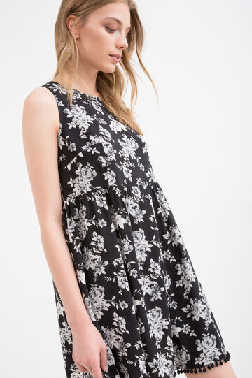Printed dress in 100% viscose, Black, hi-res