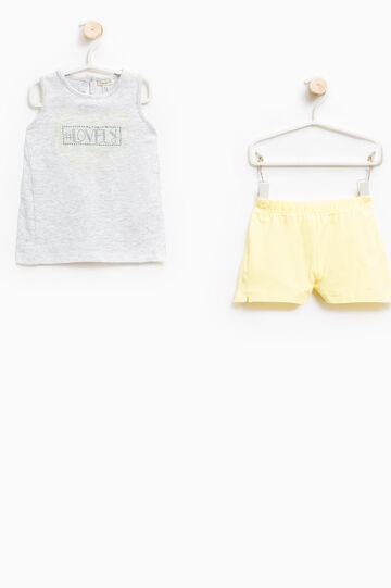 Stretch cotton top and shorts set, Multicolour, hi-res