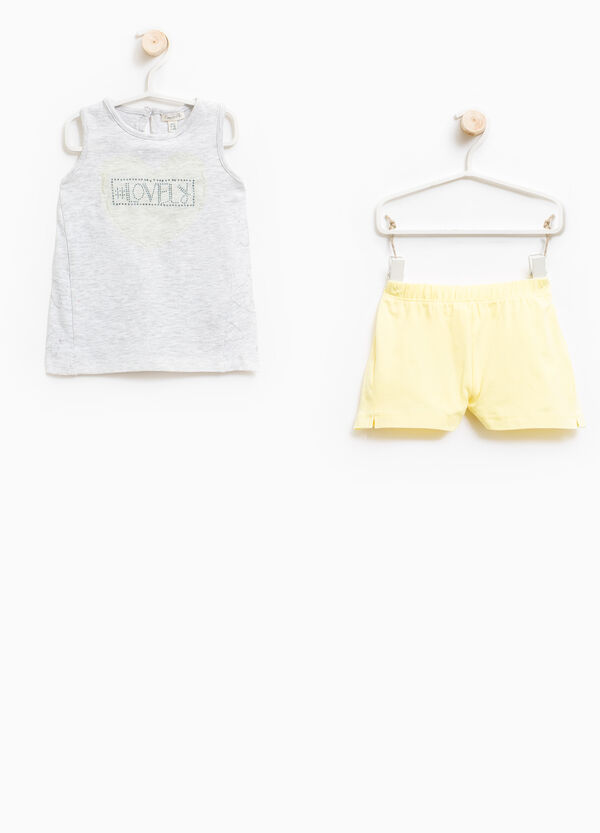 Stretch cotton top and shorts set | OVS