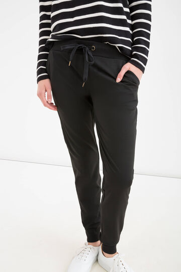 Solid colour stretch trousers, Black, hi-res