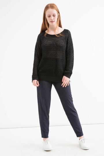 Curvy 100% cotton pullover, Black, hi-res