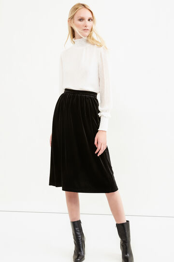 Stretch velvet longuette skirt, Black, hi-res