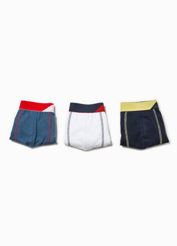 Three-pack boxer shorts with contrasting colour waistband | OVS