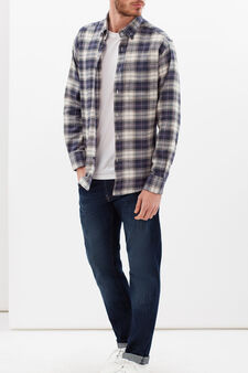 Regular check shirt in cotton, Blue/Grey, hi-res