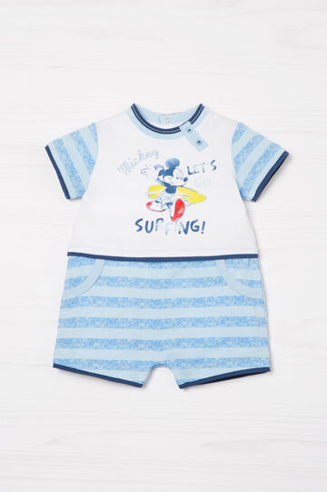 Mickey Mouse 100% cotton onesie, White/Light Blue, hi-res