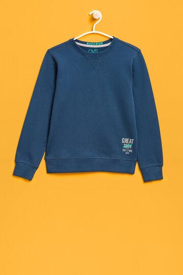Cotton sweatshirt with printed lettering, Dark Green, hi-res