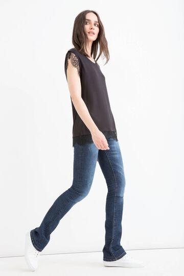T-shirt viscosa stretch con pizzo
