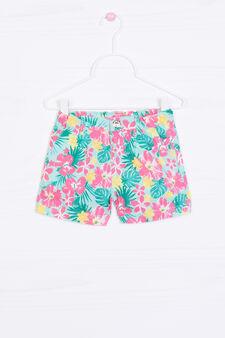 Patterned shorts in 100% cotton, Aqua Blue, hi-res