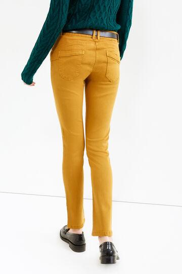 Pantaloni viscosa e cotone stretch, Giallo ocra, hi-res