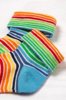 Calze misto cotone stretch a righe, Azzurro, hi-res