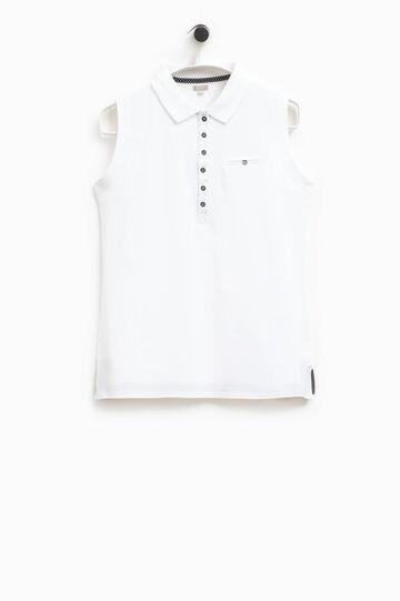 Smart Basic sleeveless polo shirt, White, hi-res