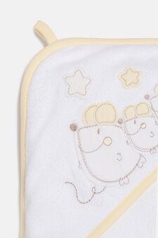 Bathrobe with embroidery, White/Yellow, hi-res