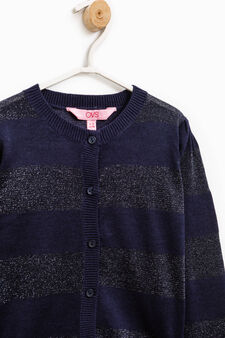 Striped cotton and viscose pullover, Blue, hi-res