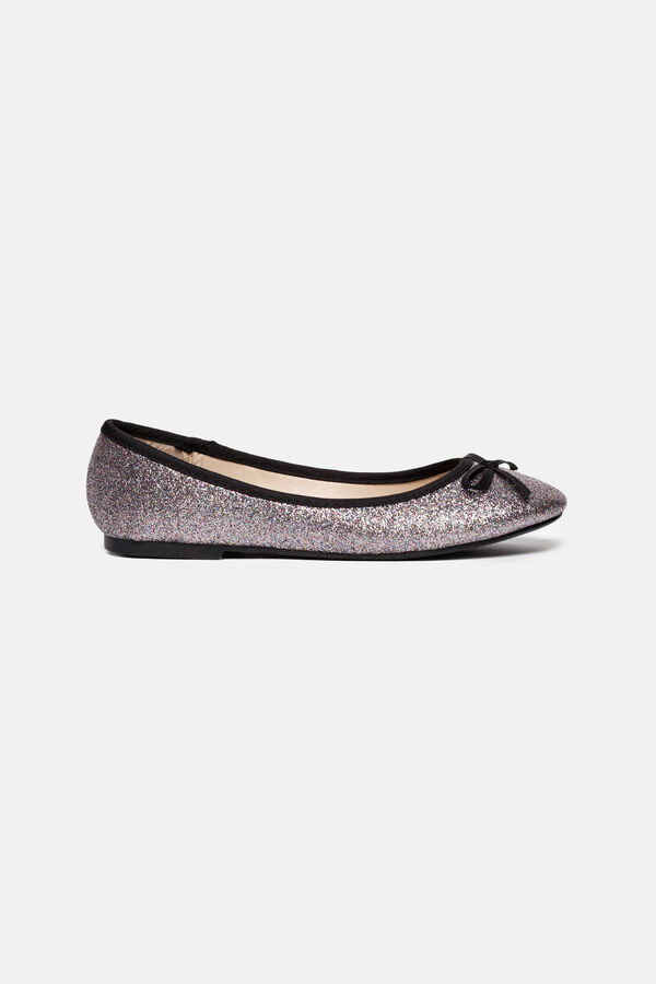Glitter ballerina pumps with braid trim | OVS