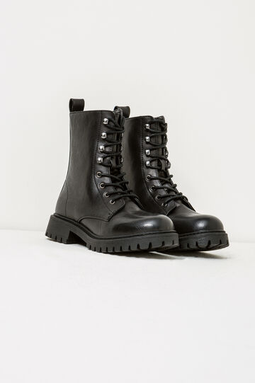 Solid colour combat boots with ties, Black, hi-res