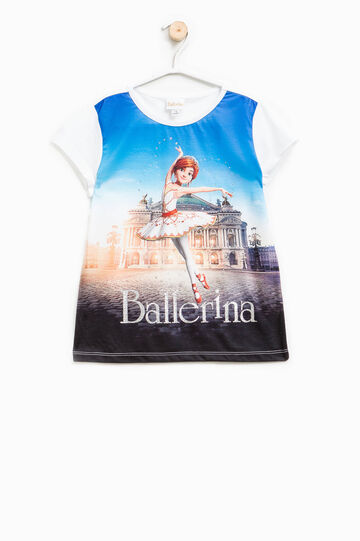 T-shirt in cotone maxi stampa Ballerina, Bianco, hi-res