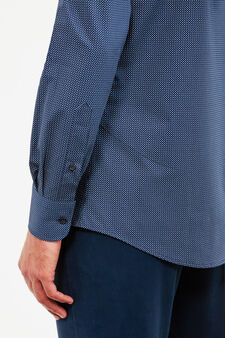 Regular-fit patterned formal shirt, Dark Blue, hi-res