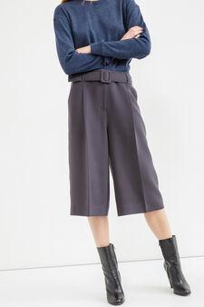Pantaloni modello gaucho con cintura, Grigio scuro, hi-res