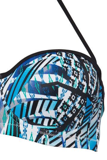 Patterned stretch bandeau top, Blue, hi-res