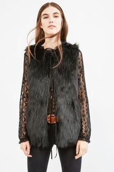 Solid colour fake fur waistcoat, Black, hi-res