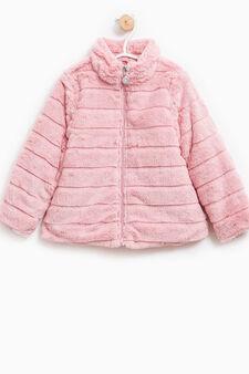 Solid colour fur coat, Pink, hi-res