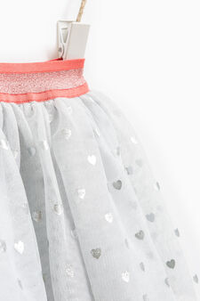 Tulle skirt with heart print, Grey Marl, hi-res