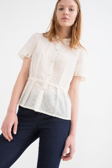 Shirt with tone-on-tone embroidery, Ecru, hi-res
