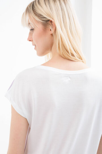 Printed T-shirt in 100% viscose, Milky White, hi-res